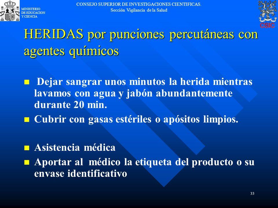 HERIDAS por punciones percutáneas con agentes químicos