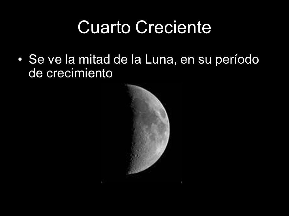 Cuarto Creciente Se ve la mitad de la Luna, en su período de crecimiento