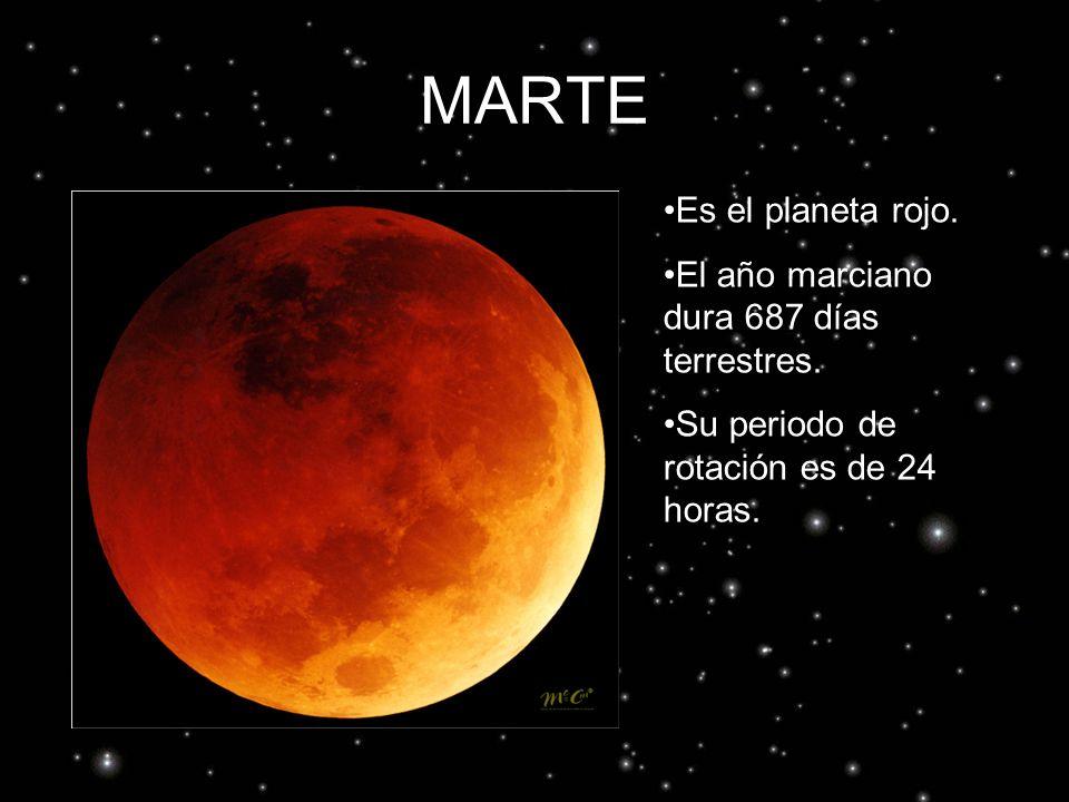 MARTE Es el planeta rojo. El año marciano dura 687 días terrestres.