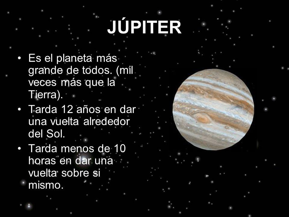 JÚPITER Es el planeta más grande de todos. (mil veces más que la Tierra). Tarda 12 años en dar una vuelta alrededor del Sol.