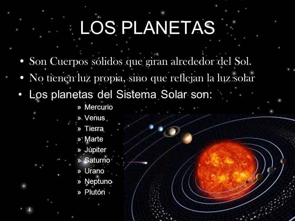 LOS PLANETAS Son Cuerpos sólidos que giran alrededor del Sol.
