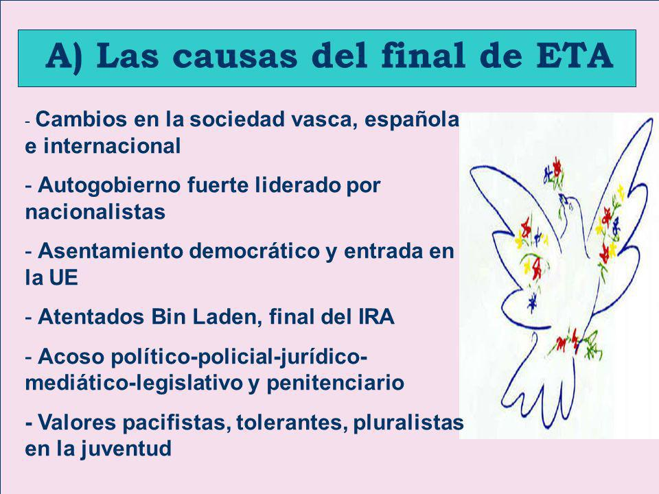 A) Las causas del final de ETA
