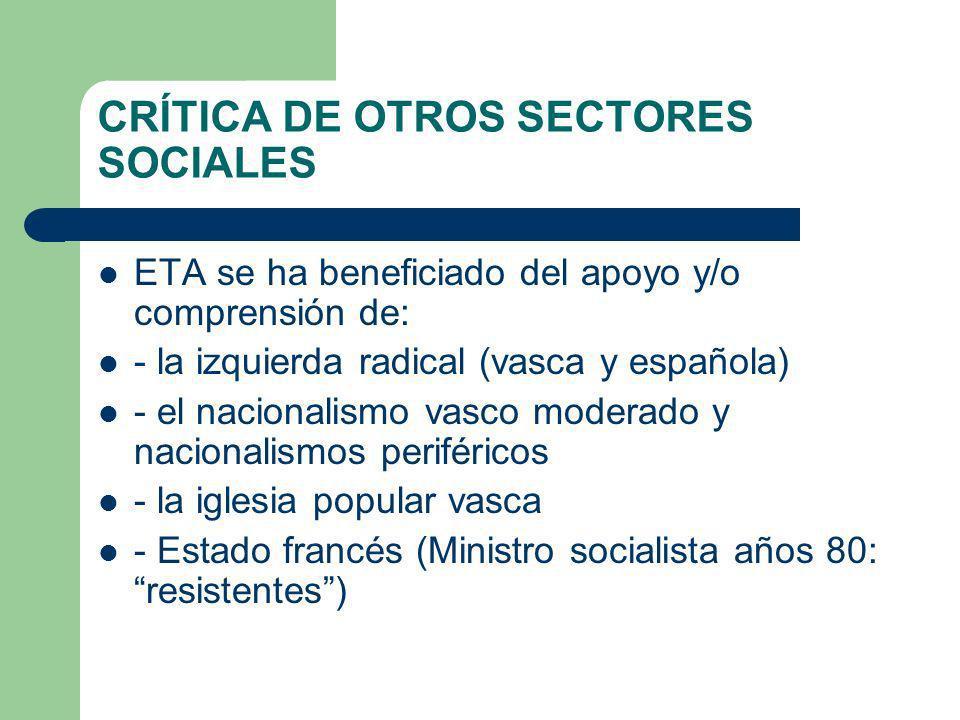 CRÍTICA DE OTROS SECTORES SOCIALES