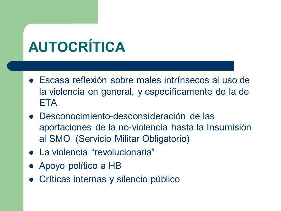 AUTOCRÍTICA Escasa reflexión sobre males intrínsecos al uso de la violencia en general, y específicamente de la de ETA.