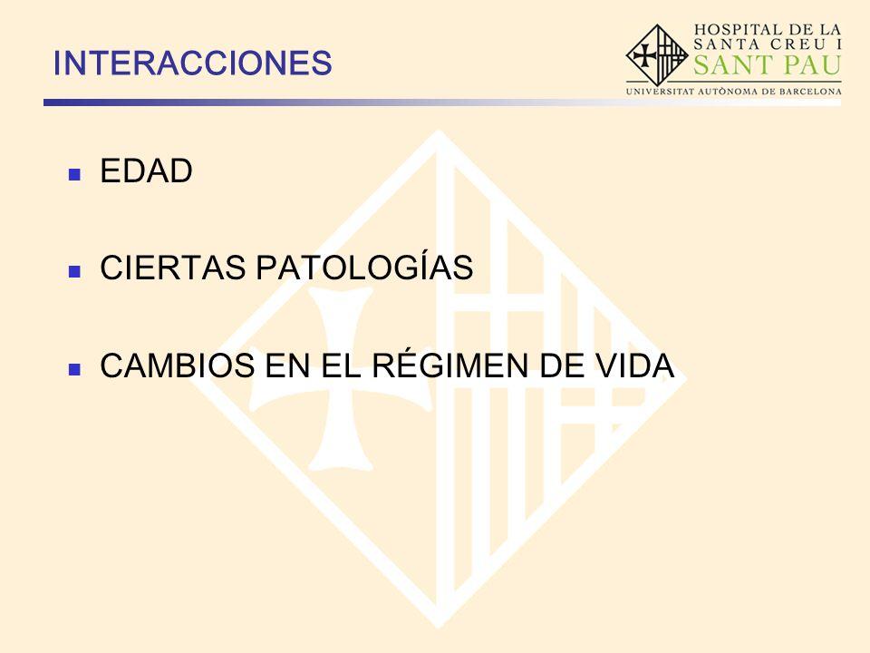 INTERACCIONES EDAD CIERTAS PATOLOGÍAS CAMBIOS EN EL RÉGIMEN DE VIDA