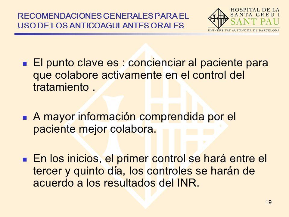 RECOMENDACIONES GENERALES PARA EL USO DE LOS ANTICOAGULANTES ORALES