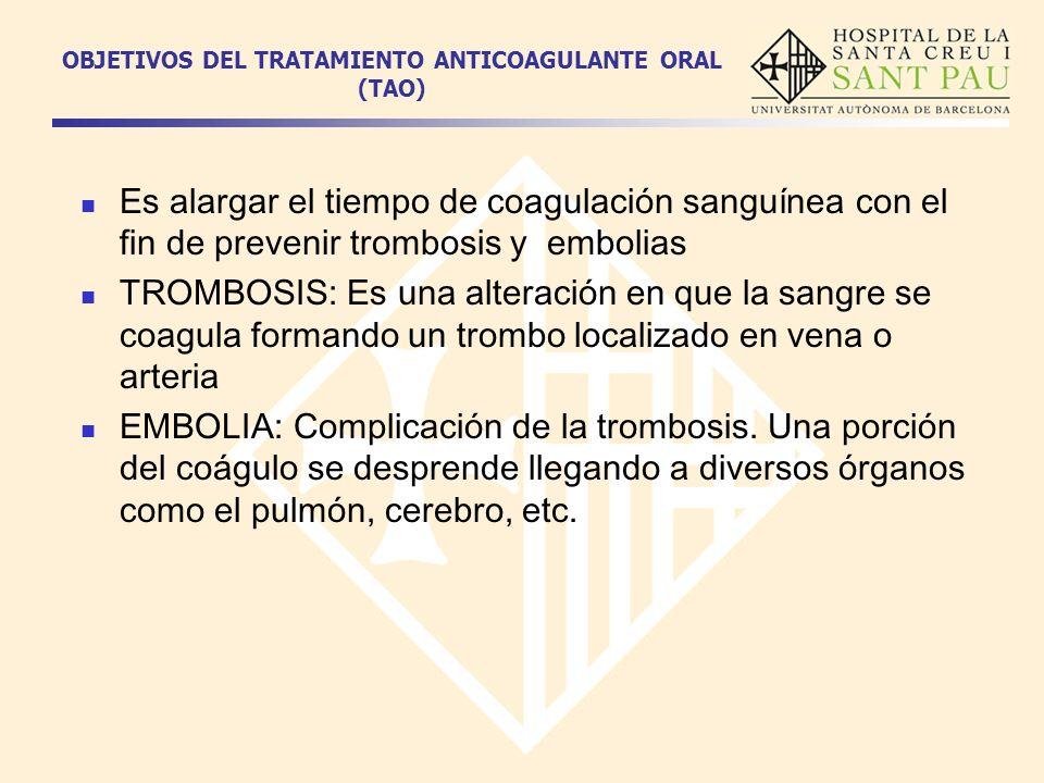 OBJETIVOS DEL TRATAMIENTO ANTICOAGULANTE ORAL (TAO)