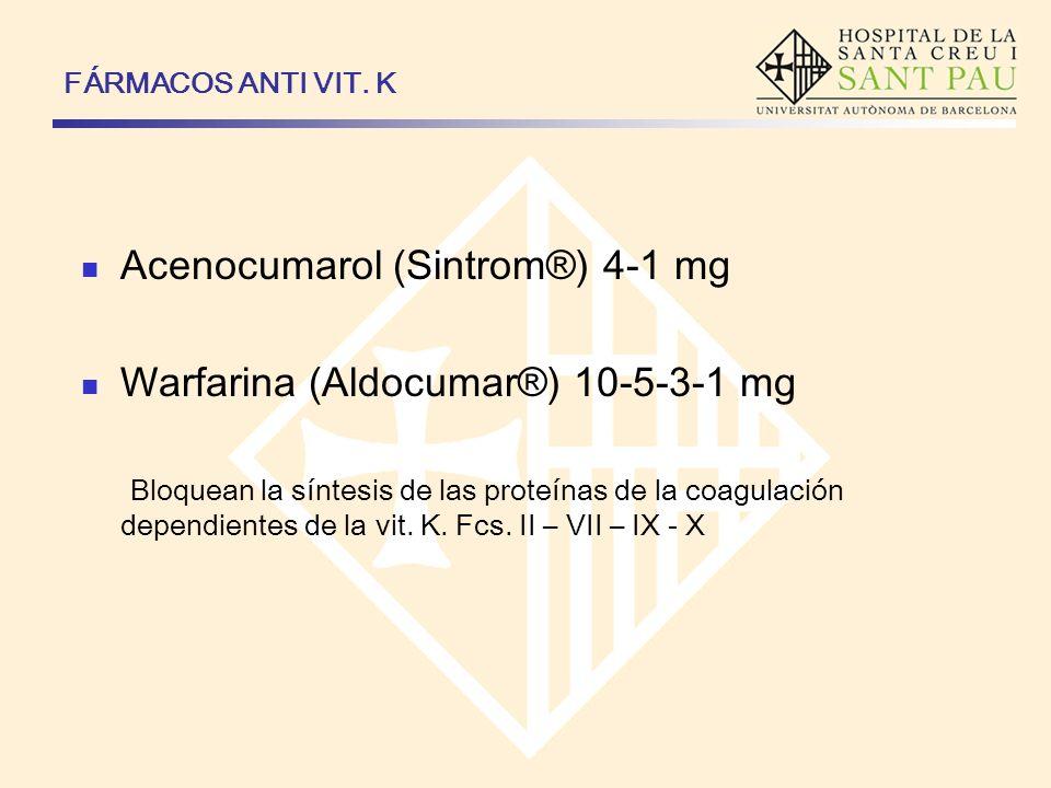 Acenocumarol (Sintrom®) 4-1 mg Warfarina (Aldocumar®) 10-5-3-1 mg