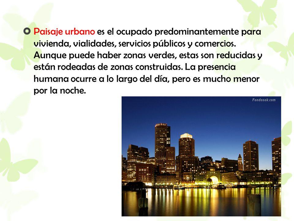 Paisaje urbano es el ocupado predominantemente para vivienda, vialidades, servicios públicos y comercios.