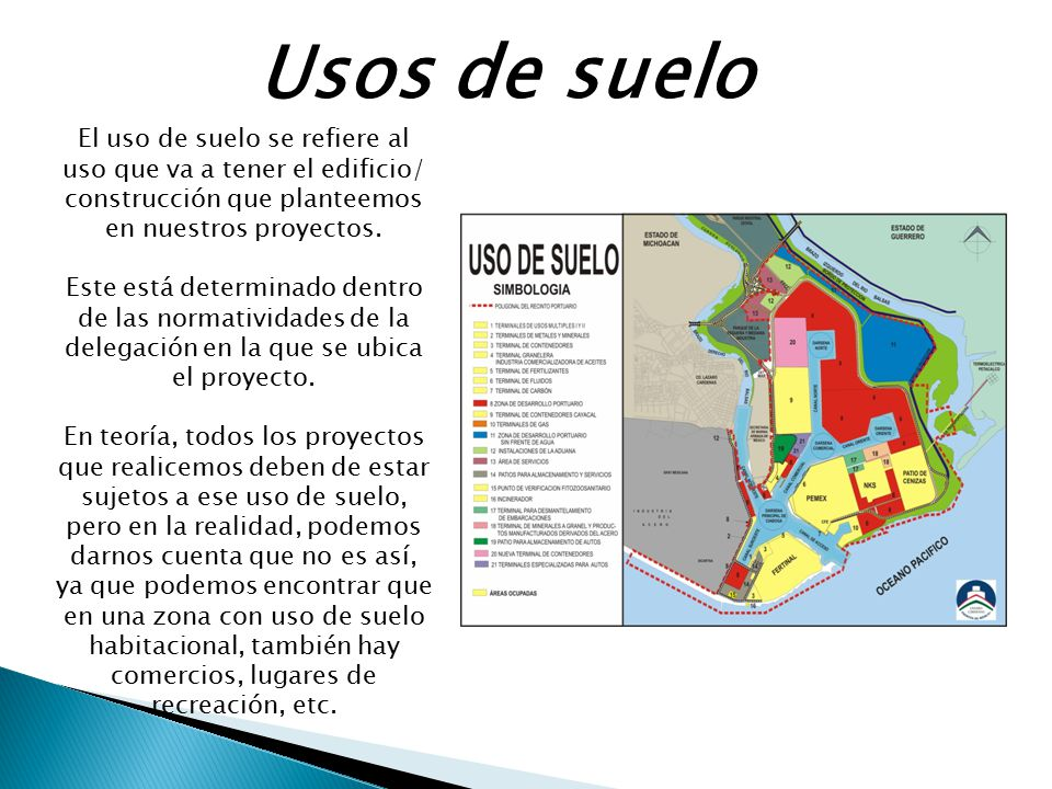 Usos de suelo El uso de suelo se refiere al uso que va a tener el edificio/ construcción que planteemos en nuestros proyectos.
