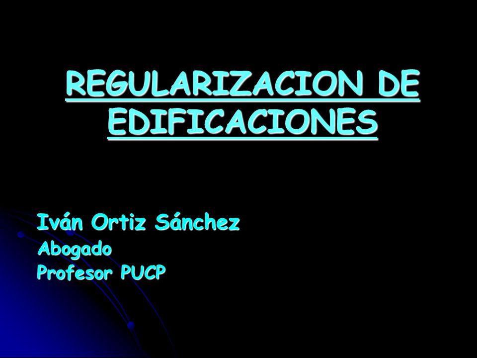 REGULARIZACION DE EDIFICACIONES