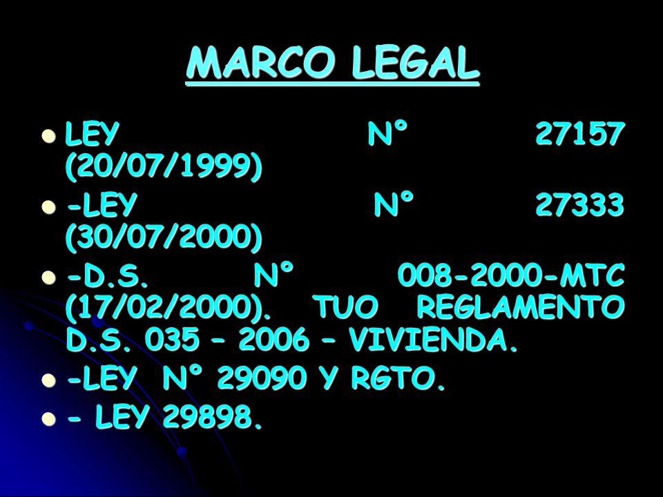 MARCO LEGAL LEY N° 27157 (20/07/1999) -LEY N° 27333 (30/07/2000)