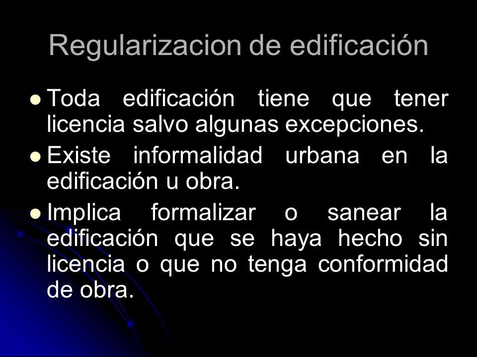 Regularizacion de edificación