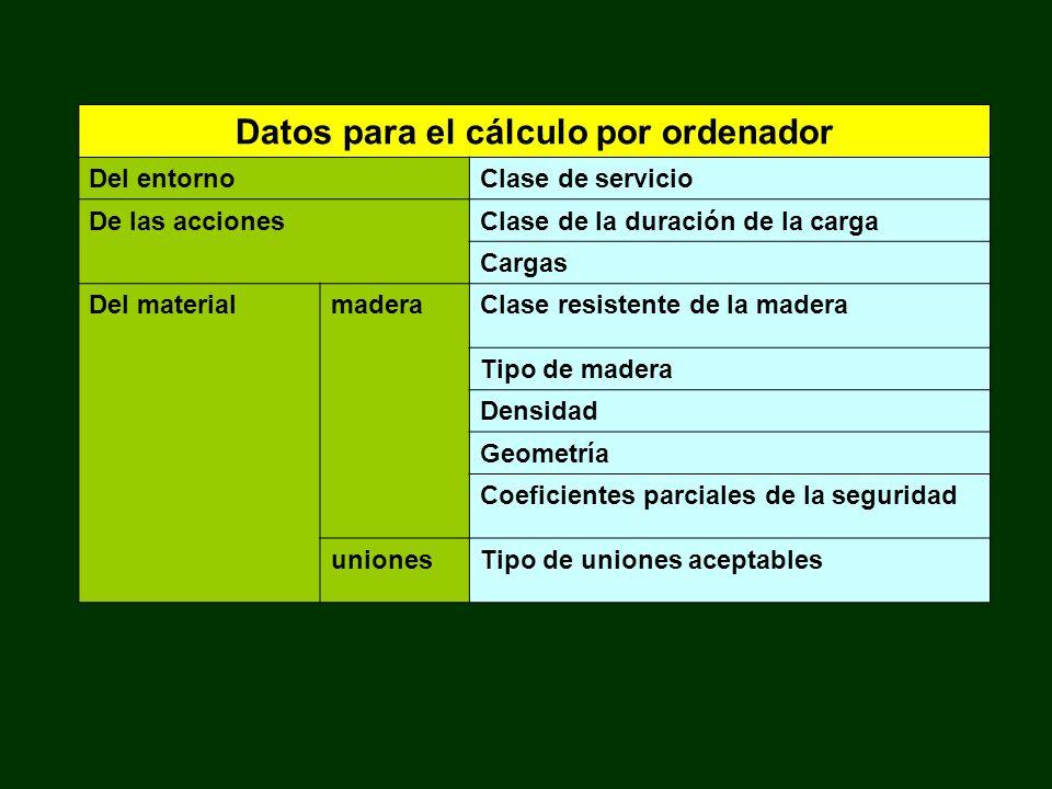 Datos para el cálculo por ordenador