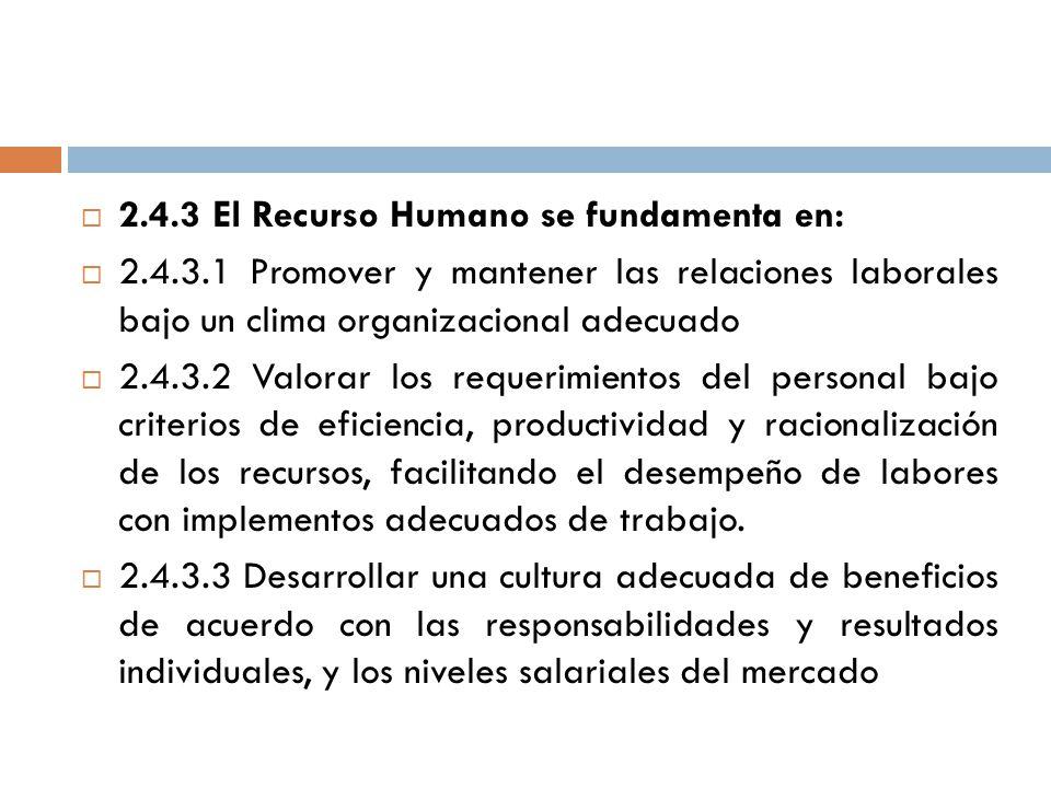 2.4.3 El Recurso Humano se fundamenta en: