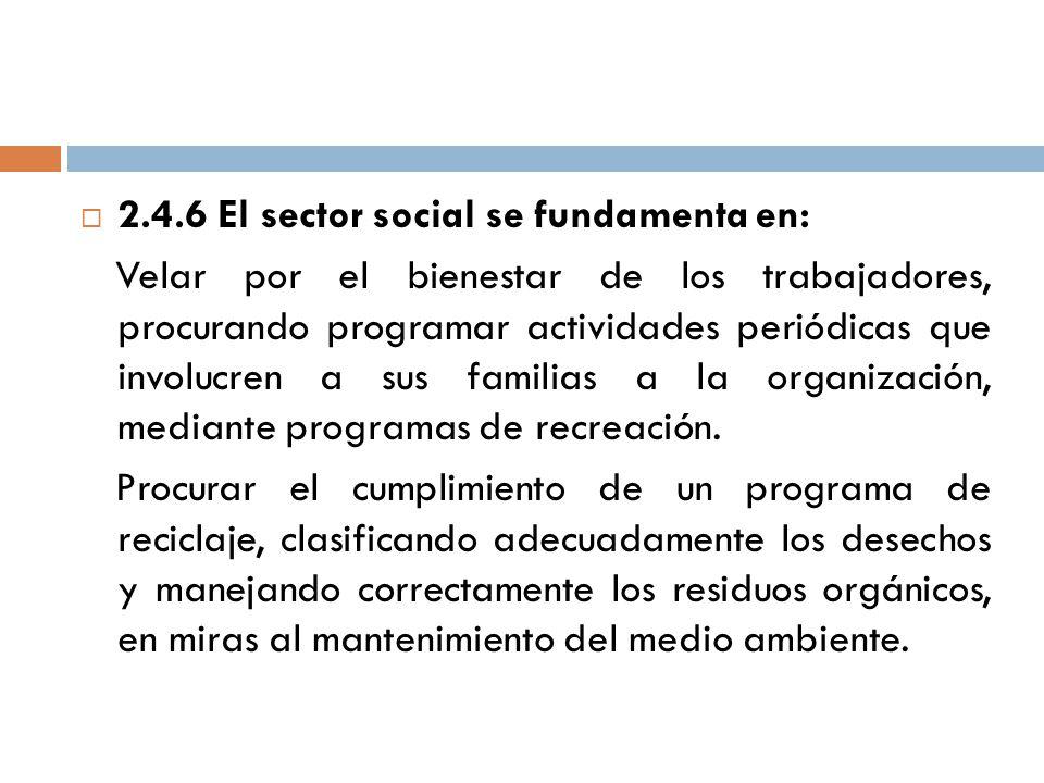 2.4.6 El sector social se fundamenta en:
