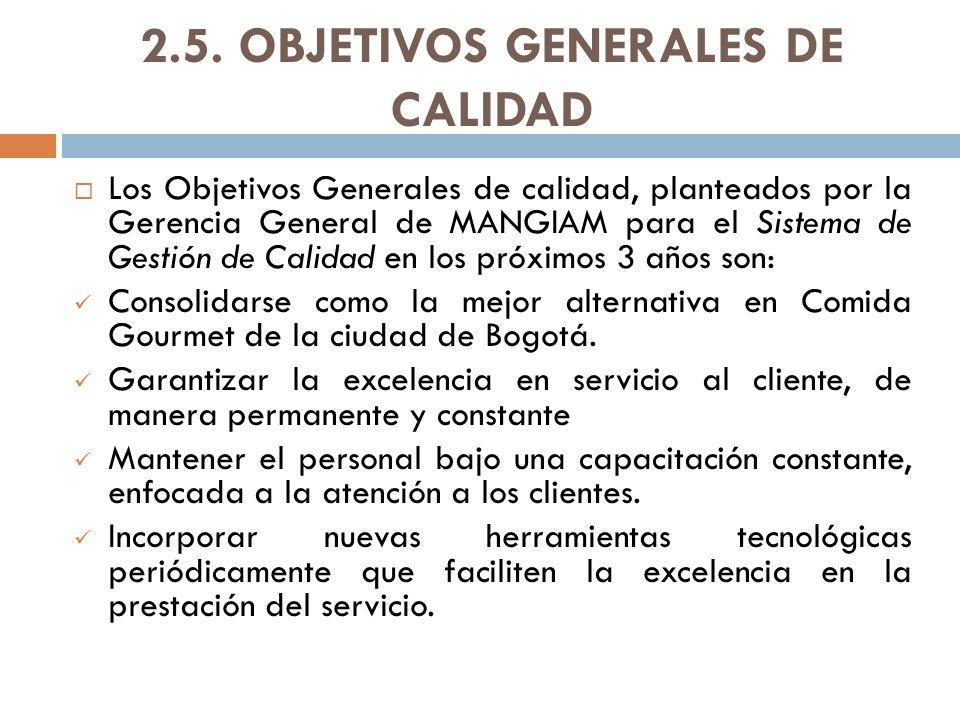 2.5. OBJETIVOS GENERALES DE CALIDAD
