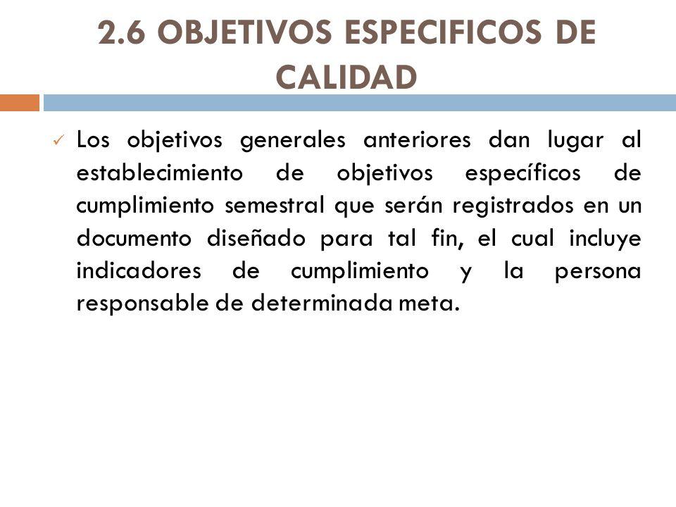2.6 OBJETIVOS ESPECIFICOS DE CALIDAD