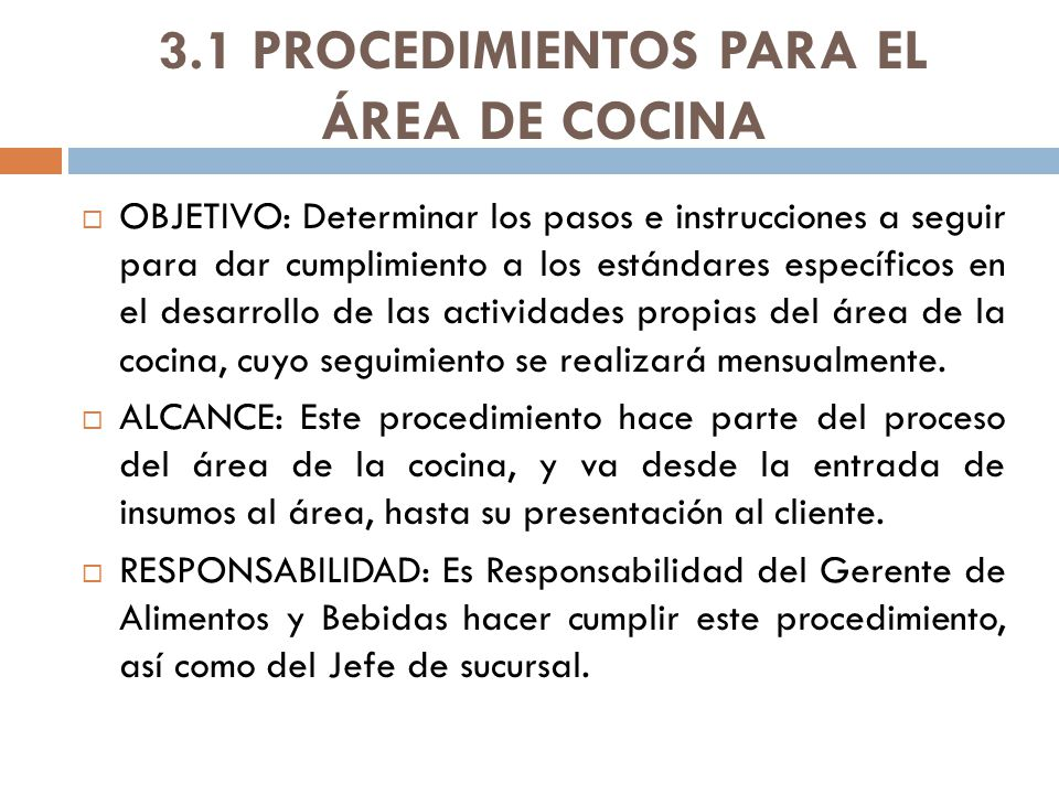 3.1 PROCEDIMIENTOS PARA EL ÁREA DE COCINA