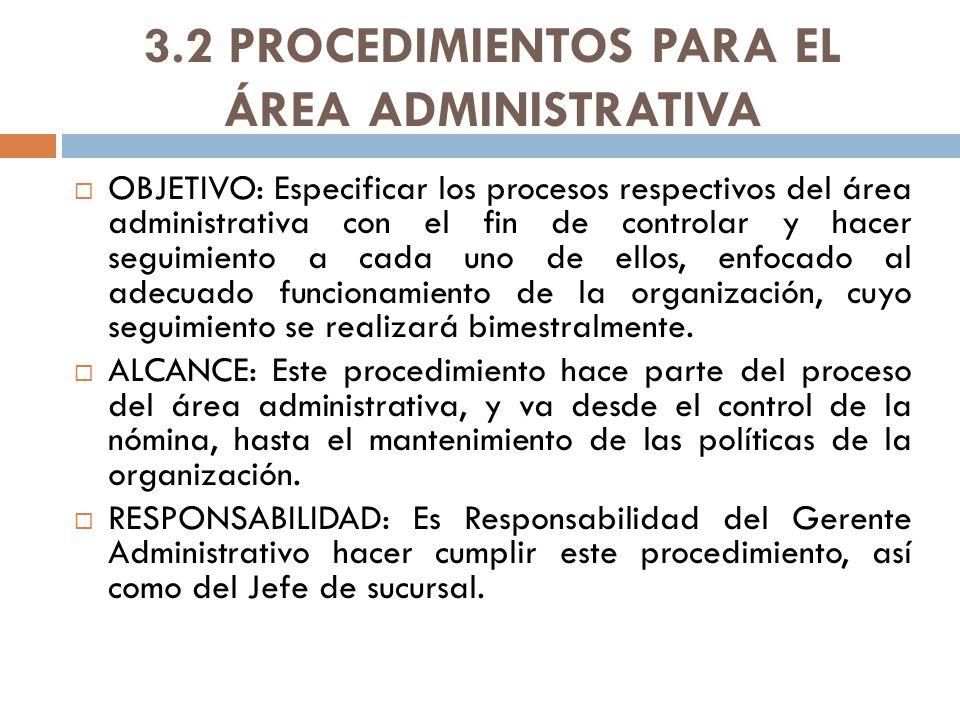3.2 PROCEDIMIENTOS PARA EL ÁREA ADMINISTRATIVA