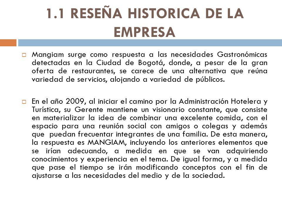 1.1 RESEÑA HISTORICA DE LA EMPRESA