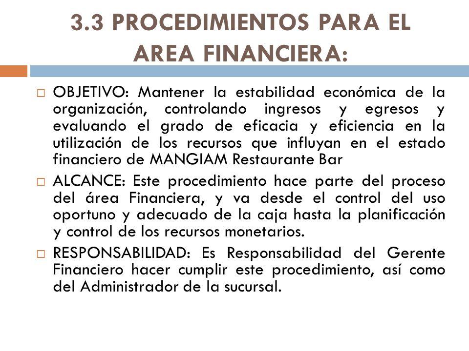 3.3 PROCEDIMIENTOS PARA EL AREA FINANCIERA: