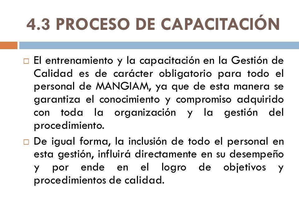 4.3 PROCESO DE CAPACITACIÓN