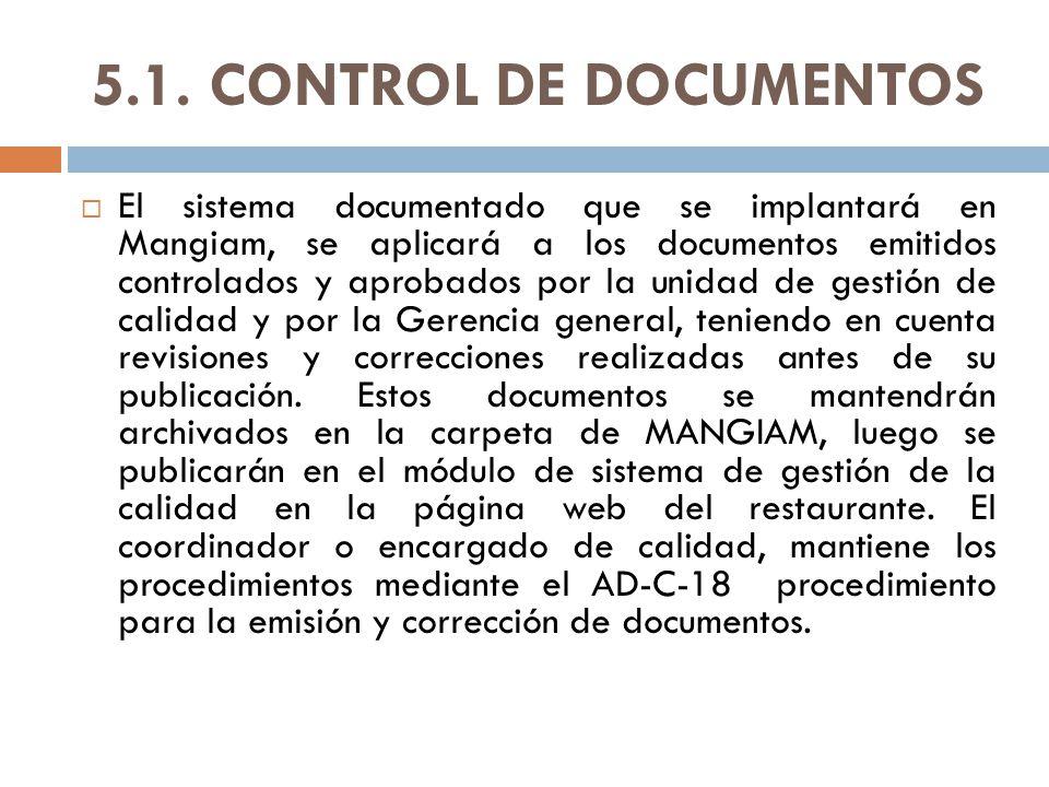5.1. CONTROL DE DOCUMENTOS