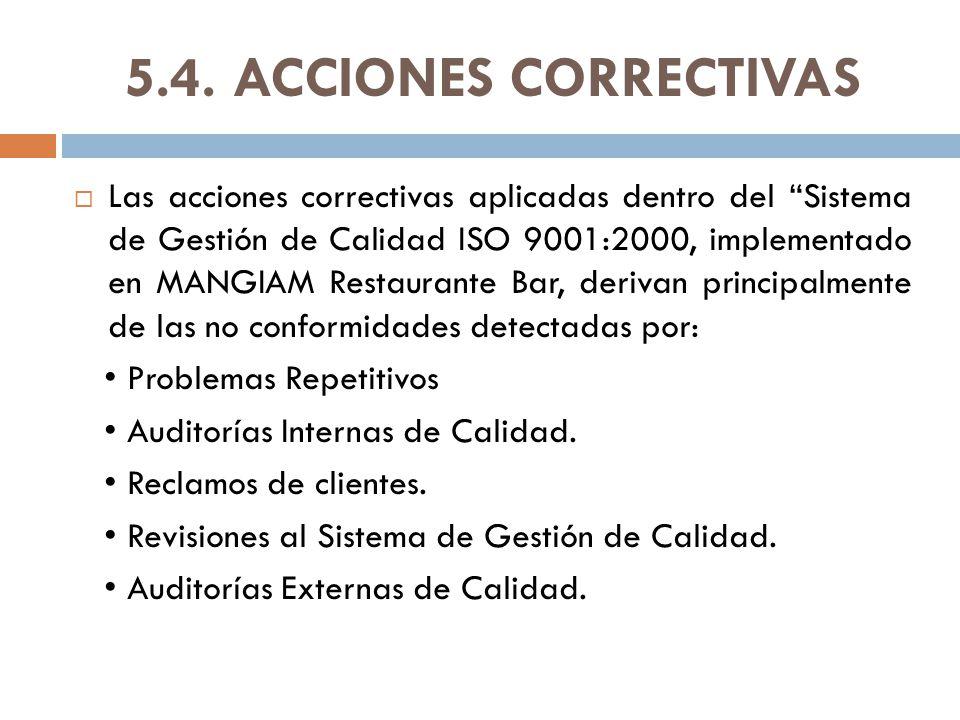 5.4. ACCIONES CORRECTIVAS