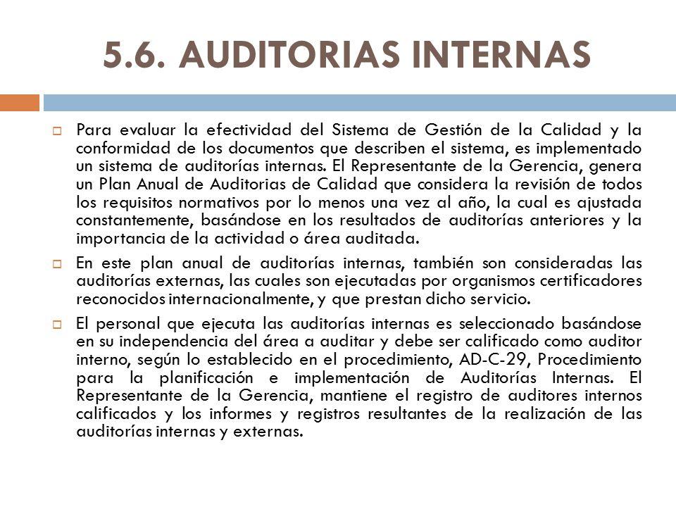 5.6. AUDITORIAS INTERNAS