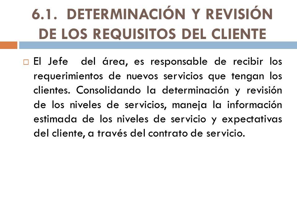 6.1. DETERMINACIÓN Y REVISIÓN DE LOS REQUISITOS DEL CLIENTE