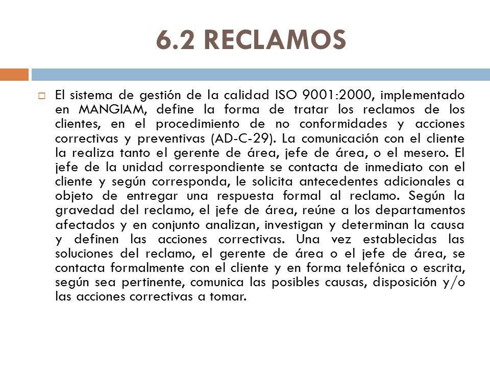 6.2 RECLAMOS