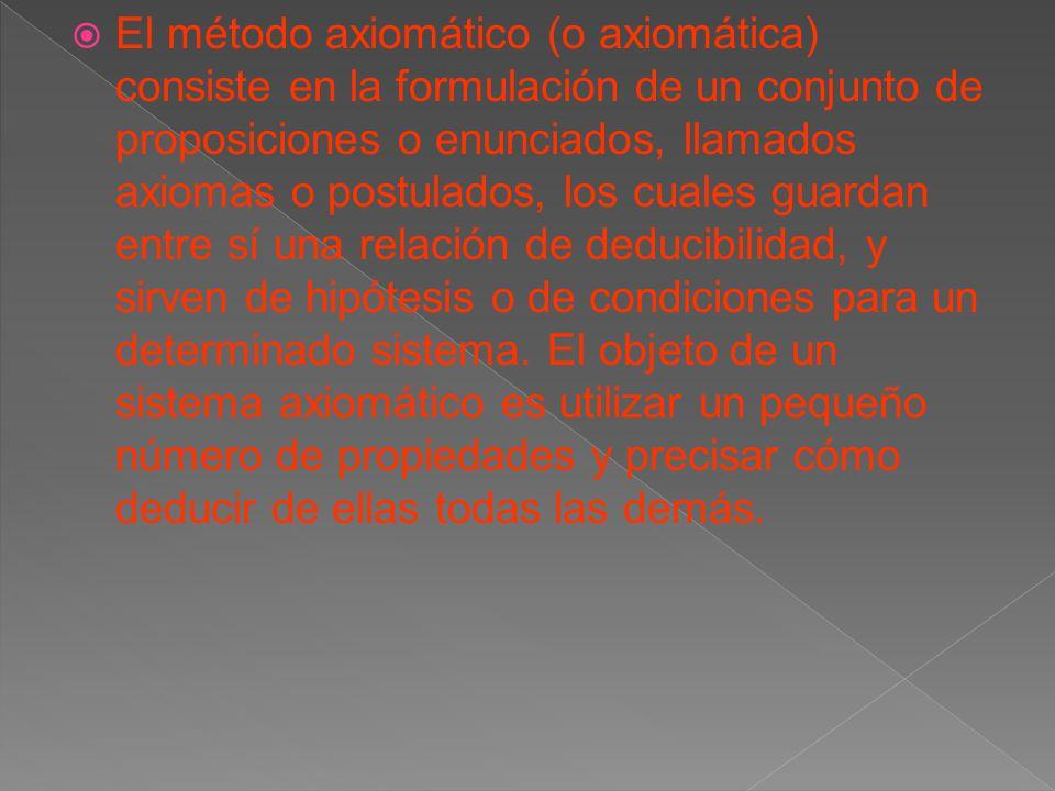 El método axiomático (o axiomática) consiste en la formulación de un conjunto de proposiciones o enunciados, llamados axiomas o postulados, los cuales guardan entre sí una relación de deducibilidad, y sirven de hipótesis o de condiciones para un determinado sistema.