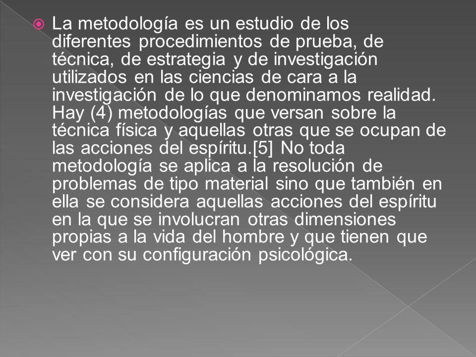 La metodología es un estudio de los diferentes procedimientos de prueba, de técnica, de estrategia y de investigación utilizados en las ciencias de cara a la investigación de lo que denominamos realidad.