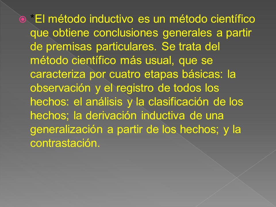 *El método inductivo es un método científico que obtiene conclusiones generales a partir de premisas particulares.