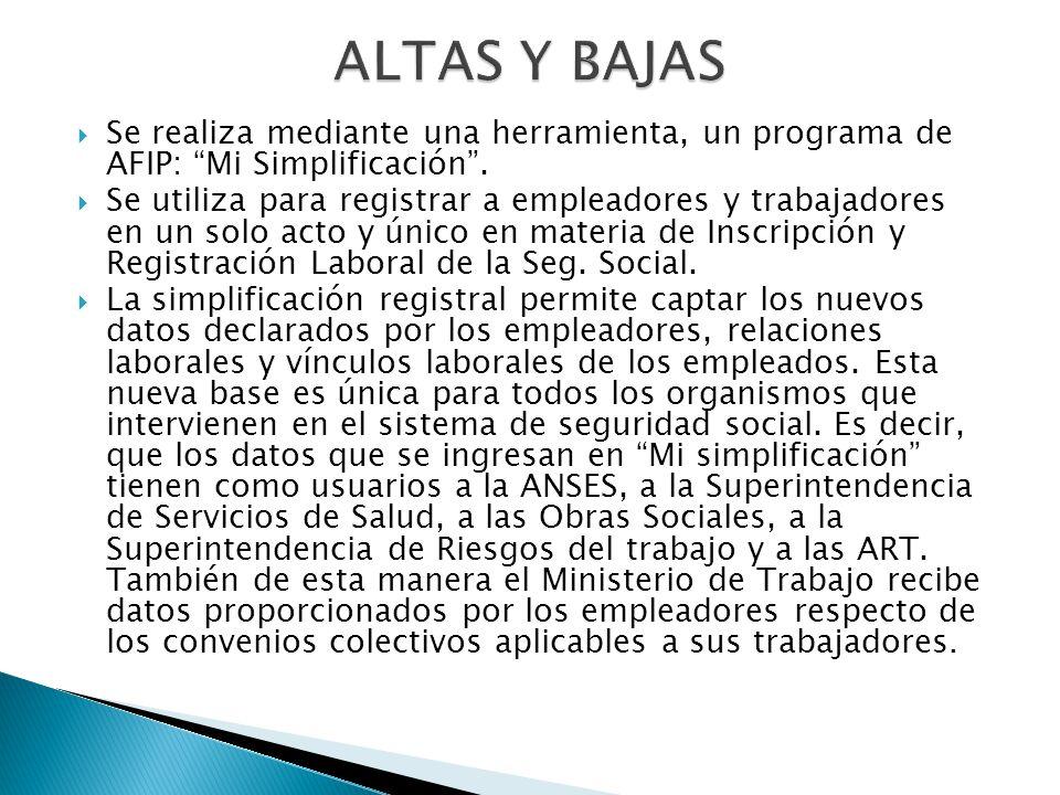 ALTAS Y BAJAS Se realiza mediante una herramienta, un programa de AFIP: Mi Simplificación .