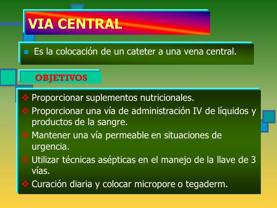 VIA CENTRAL Es la colocación de un cateter a una vena central.