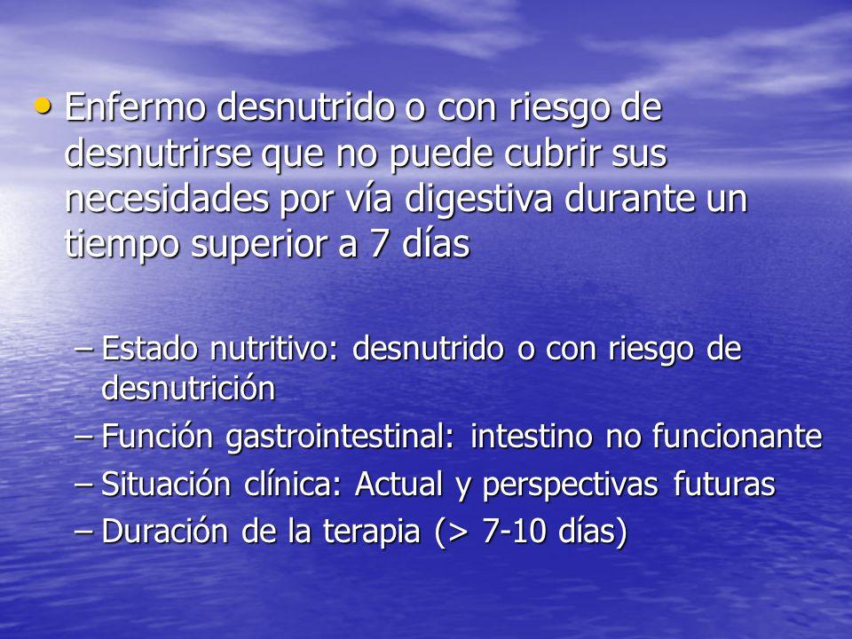 Enfermo desnutrido o con riesgo de desnutrirse que no puede cubrir sus necesidades por vía digestiva durante un tiempo superior a 7 días