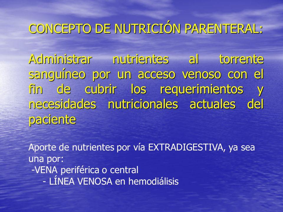 CONCEPTO DE NUTRICIÓN PARENTERAL:
