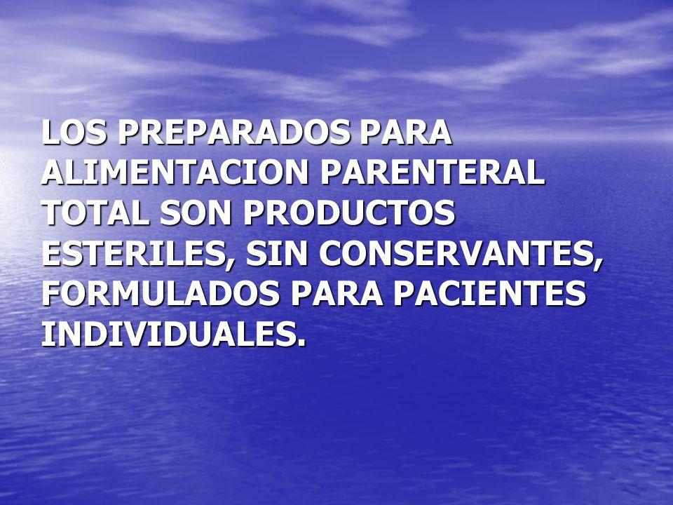 LOS PREPARADOS PARA ALIMENTACION PARENTERAL TOTAL SON PRODUCTOS ESTERILES, SIN CONSERVANTES, FORMULADOS PARA PACIENTES INDIVIDUALES.
