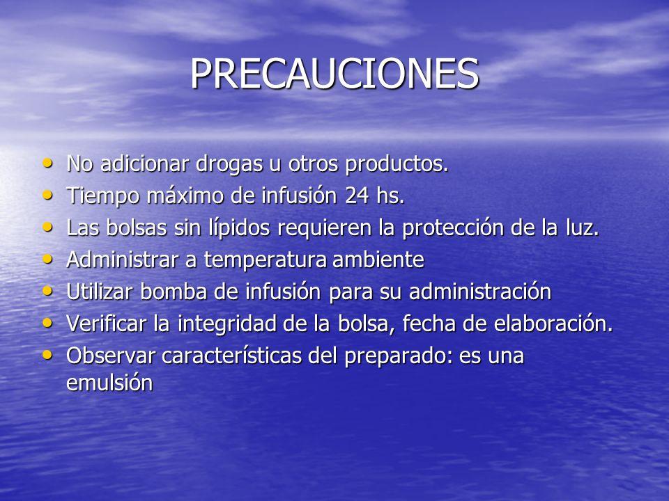 PRECAUCIONES No adicionar drogas u otros productos.