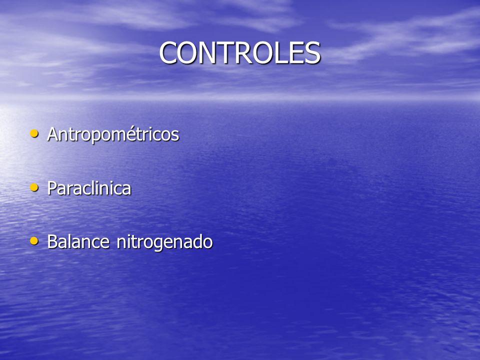 CONTROLES Antropométricos Paraclinica Balance nitrogenado