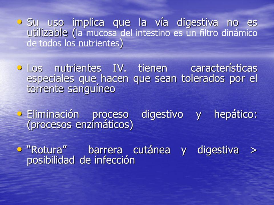 Su uso implica que la vía digestiva no es utilizable (la mucosa del intestino es un filtro dinámico de todos los nutrientes)