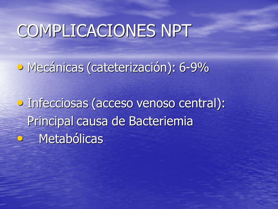 COMPLICACIONES NPT Mecánicas (cateterización): 6-9%