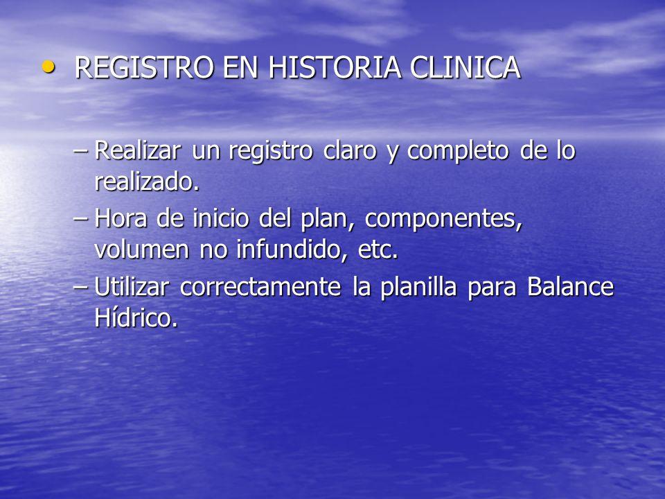 REGISTRO EN HISTORIA CLINICA