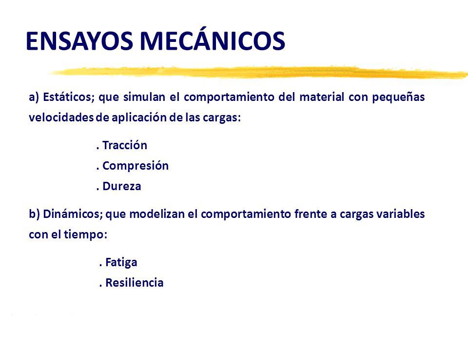 ENSAYOS MECÁNICOS a) Estáticos; que simulan el comportamiento del material con pequeñas velocidades de aplicación de las cargas: