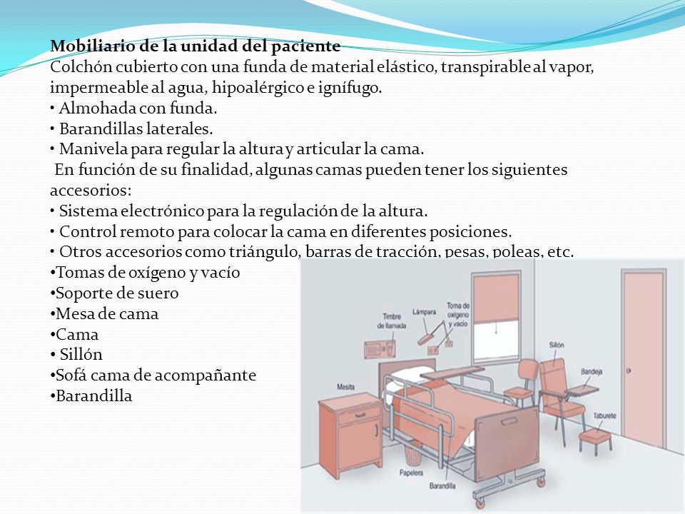 La habitacion de la persona encamada ppt descargar for Caracteristicas del mobiliario