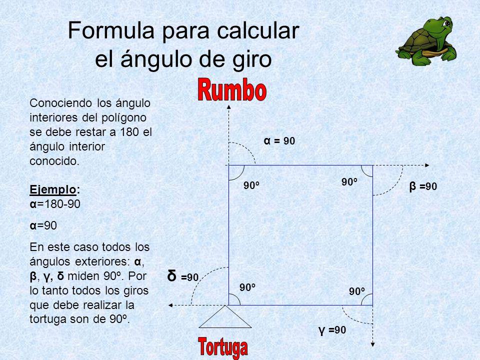 Formula para calcular el ángulo de giro