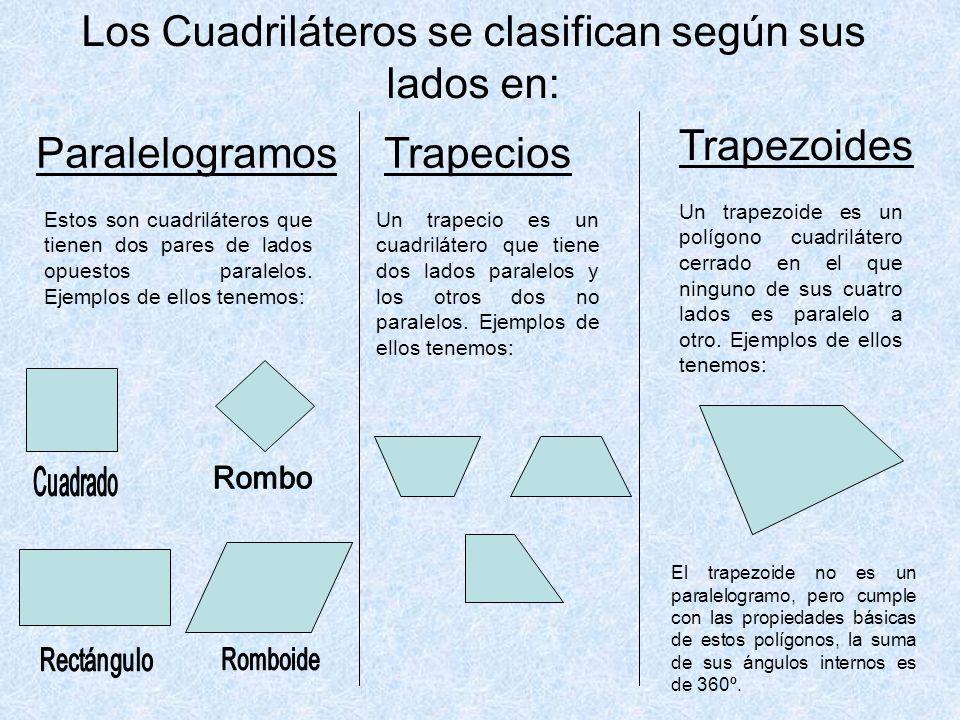 Los Cuadriláteros se clasifican según sus lados en: