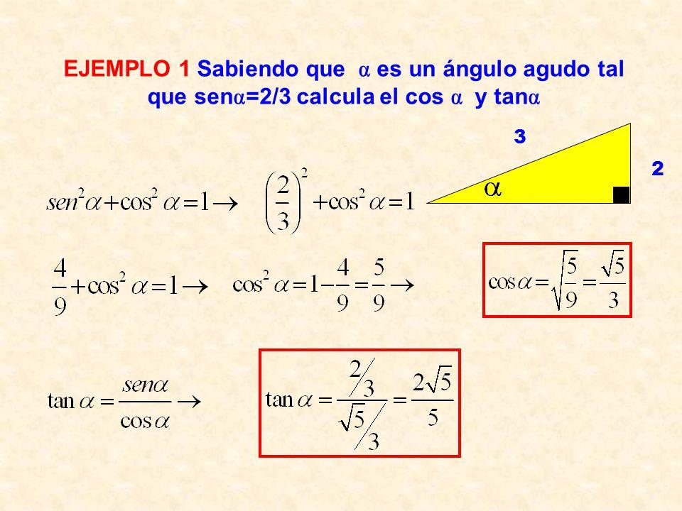 EJEMPLO 1 Sabiendo que  es un ángulo agudo tal que sen=2/3 calcula el cos  y tan